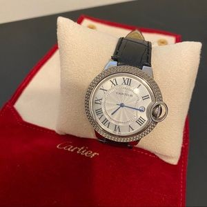 Cartier Ballon Blue Steel Leather Watch